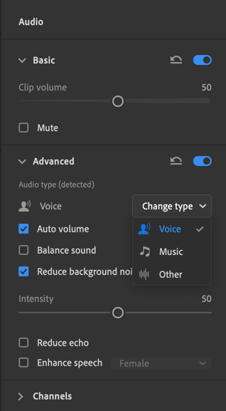 One can edit the audio and make changes to the clip volume, the type (whether voice or music)