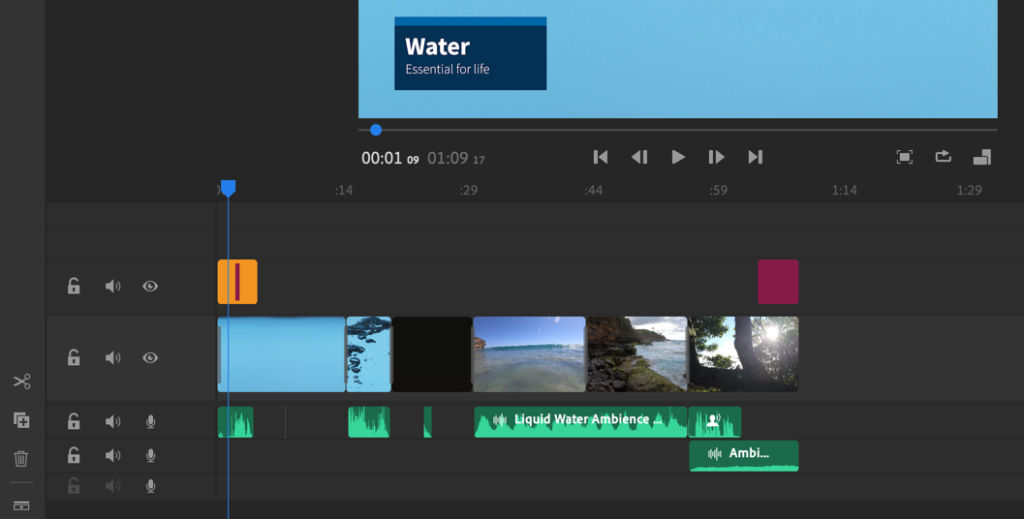 Reviewing the final project. Audio clips are shown in green, media as placeholders, and titles are in purple.