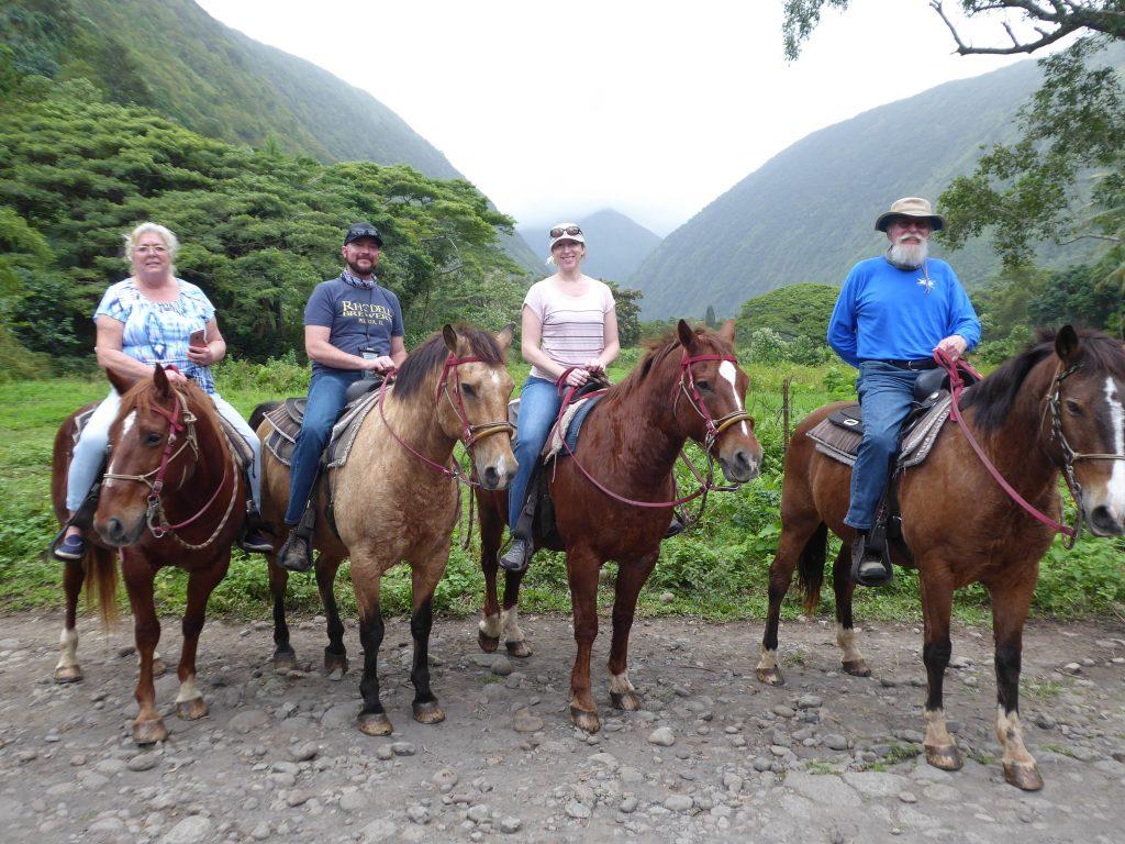 Jeri DuBois, Ben DuBois, Lindsay DuBois, Mark DuBois on horses in Waipi'o Valley